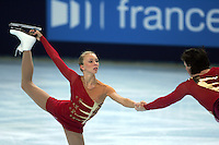 November 19, 2005; Paris, France; Figure skating stars TATIANA TOTMIANINA and MAXIM MARININ of Russia  skate to gold in pairs figure skating at Trophee Eric Bompard, ISU Paris Grand Prix competition.  Totmianina and Marinin are one of the favorites for medals in pairs at the Torino 2006 Olympics.<br />Mandatory Credit: Tom Theobald/<br />Copyright 2005 Tom Theobald