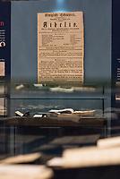 """Beethoven-Ausstellung """"Diesen Kuss der ganzen Welt!"""" in der Staatsbibliothek zu Berlin.<br /> Im Haus Unter den Linden wird eine der weltweit bedeutendsten Sammlungen von Notenhandschriften Ludwig van Beethovens und Autographen vom 11. Maerz bis 30. April 2020 gezeigt.<br /> Im Bild: Ein Ausstellungsteil ueber Beethovens Oper """"Fidelio"""" in drei Teilen.<br /> 10.3.2020, Berlin<br /> Copyright: Christian-Ditsch.de<br /> [NUR FUER REDAKTIONELLE ZWECKE! Werbung nur auf Anfrage beim Fotografen. Inhaltsveraendernde Manipulation des Fotos nur nach ausdruecklicher Genehmigung des Fotografen. Vereinbarungen ueber Abtretung von Persoenlichkeitsrechten/Model Release der abgebildeten Person/Personen liegen nicht vor. NO MODEL RELEASE! Don't publish without copyright Christian-Ditsch.de, Veroeffentlichung nur mit Fotografennennung, sowie gegen Honorar, MwSt. und Beleg. Konto: I N G - D i B a, IBAN DE58500105175400192269, BIC INGDDEFFXXX, Kontakt: post@christian-ditsch.de<br /> Bei der Bearbeitung der Dateiinformationen darf die Urheberkennzeichnung in den EXIF- und  IPTC-Daten nicht entfernt werden, diese sind in digitalen Medien nach §95c UrhG rechtlich geschuetzt. Der Urhebervermerk wird gemaess §13 UrhG verlangt.]"""