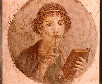 Greek Art:  Affresco--Saffo (da Ercolano) .    National Museum, Naples.