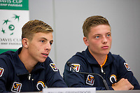 Swiss, Genève, September 14, 2015, Tennis,   Davis Cup, Swiss-Netherlands, Press Conference Dutch team, Tallon Griekspoor and Tim van Rijthoven (R)<br /> Photo: Tennisimages/Henk Koster