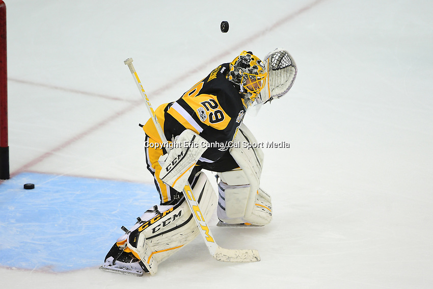 May 21, 2017: Pittsburgh Penguins goalie Marc-Andre Fleury (29)  warms up before game five of the National Hockey League Eastern Conference Finals between the Ottawa Senators and the Pittsburgh Penguins, held at PPG Paints Arena, in Pittsburgh, PA. Pittsburgh shuts out Ottawa 7-0 to lead the series 3-2.  Eric Canha/CSM