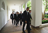 United States President Barack Obama (L) talks with Denmark Prime Minister Lars Lokke Rasmussen as they and other Nordic leaders walk along the White House Colonnade to the Oval Office during the State Visit in Washington, D.C. on May 13, 2016.  Other Nordic leaders are second row Finland President Sauli Niinisto and Sweden Prime Minister Stefan Lofven (R), third row Iceland Prime Minister Sigurdur Ingi Johannsson and Norway Prime Minister Erna Solberg (R).   <br /> Credit: Pat Benic / Pool via CNP