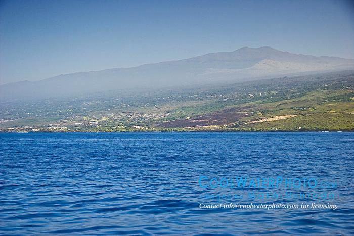 Hualalai volcanic mountain, 2,523m (8,271ft) above sea level, last historical eruption in 1800-1801, off Kona Coast, Big Island, Hawaii, Pacific Ocean.
