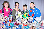 TOY BEARS: Jackie Foran of the Teddy Bear stand at the Arty Bits Craft Fair in the Carlton Hotel Tralee on Sunday hoping to sell to new customers l-r: Jackie Foran (Tralee), Sharon Ahern (Killorglin) Kenny Foran (Tralee) and Rachel Murphy (Killorglin).