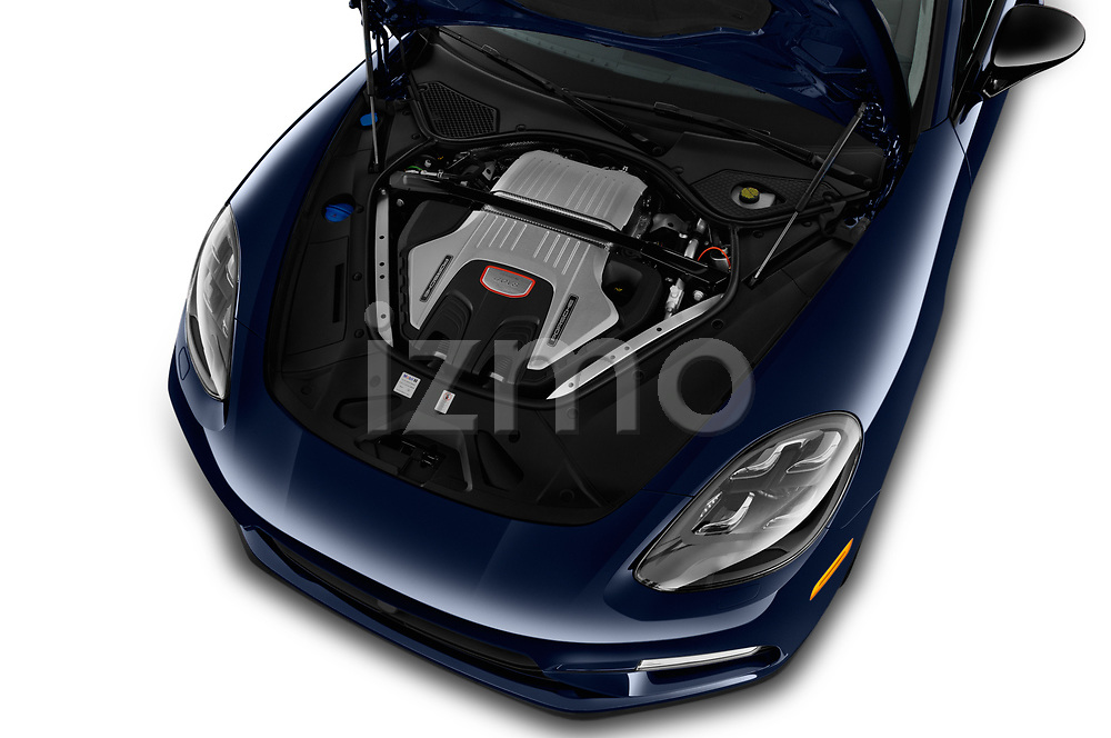 Car Stock 2018 Porsche Panamera Turbo 5 Door Hatchback Engine  high angle detail view