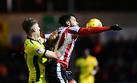 Lincoln City's Matt Green shields the ball from Cheltenham Town's Joe Rodon<br /> <br /> Photographer Chris Vaughan/CameraSport<br /> <br /> The EFL Sky Bet League Two - Lincoln City v Cheltenham Town - Tuesday 13th February 2018 - Sincil Bank - Lincoln<br /> <br /> World Copyright &copy; 2018 CameraSport. All rights reserved. 43 Linden Ave. Countesthorpe. Leicester. England. LE8 5PG - Tel: +44 (0) 116 277 4147 - admin@camerasport.com - www.camerasport.com