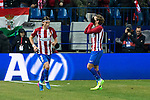 Atletico de Madrid's defender Filipe Luis and forward Antoine Griezmann reacts during the match of Copa del Rey between Atletico de  Madrid and Futbol Club Barcelona at Vicente Calderon Stadium in Madrid, Spain. February 1st 2017. (ALTERPHOTOS/Rodrigo Jimenez)