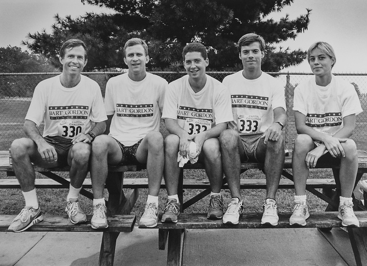 Rep. Bart Gordon, D-Tenn., (1st Congressman to cross finish line), Executive Assistant Philip Graves, LBJ Intern Ira Lit, Administrative Assistant Jeff Whorley, Legislative Assistant Diane Evans during Nike Capitol Challenge on Sep. 18, 1989. (Photo by Laura Patterson/CQ Roll Call via Getty Images)