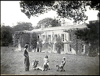 BNPS.co.uk (01202 558833)Pic: Rowley's/BNPS<br /> <br /> Daphne du Maurier and her children at Menabilly – 'my Mena' – which inspired the house Manderley in her famous novel Rebecca.<br /> <br /> Two previously unknown poems by celebrated writer Daphne du Maurier have been discovered hidden inside a photograph frame.<br /> <br /> They are believed to have been penned in the late 1920s, when she was in her early 20s and an unknown in the literary world.<br /> <br /> The poems were written on a carefully folded sheet of A4 paper concealed within a 5ins high blue leather frame which contained a photo of du Maurier in a swimming costume. <br /> <br /> They were uncovered by an eagle-eyed auctioneer who has been tasked with selling an archive of du Maurier's letters and photos, which includes snaps with the Royals.