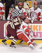 Brad Zancanaro, Benn Ferreiro, Peter MacArthur, John McCarthy - The Boston University Terriers defeated the Boston College Eagles 2-1 in overtime in the March 18, 2006 Hockey East Final at the TD Banknorth Garden in Boston, MA.