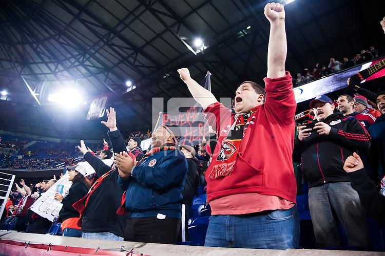 HARRISON, NJ - Saturday October 3, 2015: The New York Red Bulls defeat the Columbus Crew 3-2 at home at Red Bull Arena in regular season MLS play.