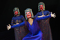 London, UK. 30.04.2014. Shakespeare's Globe presents TITUS ANDRONICUS, directed by Lucy Bailey. Picture shows: Samuel Edward-Cook  (Demetrius), Indira Varma (Tamora), and Brian Martin (Chiron). Photograph © Jane Hobson.
