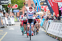 Picture by Alex Whitehead/SWpix.com - 11/05/2017 - Cycling - Tour Series Round 2, Stoke-on-Trent - Matrix Fitness Grand Prix Series - WNT's Katie Archibald celebrates the win.