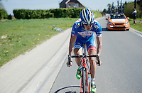 Bjorn Leukemans (BEL/Wanty-Groupe Gobert) back on the bike after just having crashed &amp; trying to get back into the peloton.<br /> <br /> 55th Brabantse Pijl 2015