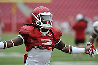NWA Democrat-Gazette/MICHAEL WOODS &bull; @NWAMICHAELW<br /> University of Arkansas running back Alex Collins runs drills during practice Saturday August 22, 2015 at Razorback Stadium in Fayetteville.