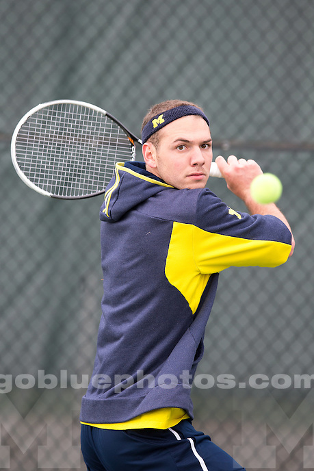 The University of Michigan men's tennis team defeats Wisconsin, 4-0, to advance to the quarterfinals of the Big Ten Conference Tournament at the MSU Outdoor Tennis Courts in East Lansing, Mich. on April 24, 2014.