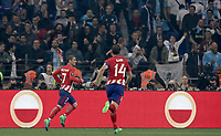 Club Atletico de Madrid's Antoine Griezmann, left, celebrates with his teammate Gabi after scoring his first goal during the UEFA Europa League final football match between Olympique de Marseille and Club Atletico de Madrid at the Groupama Stadium in Decines-Charpieu, near Lyon, France, May 16, 2018.<br /> UPDATE IMAGES PRESS/Isabella Bonotto