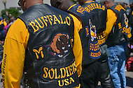 May 26, 2013  (Washington, DC)  Members of the Buffalo Soldiers motorcycle club during a ceremony at the African American Civil War Memorial in D.C. The event occurs each year during Memorial Day weekend as part of Buffalo Thunder. (Photo by Don Baxter/Media Images International)