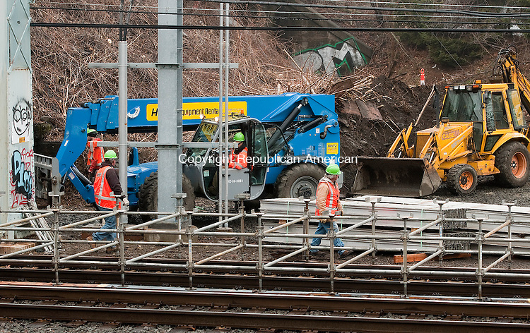 MILFORD,  CT,  CT-041015JS02- Metro-North workers continue work on the new Devon Transfer station in Milford on Friday. The station which will be used while the Housatonic Railroad Bridge undergoes repairs, is for the Waterbury line to make connections to New Haven. <br /> Jim Shannon Republican-American