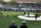 February 3rd 2019, Scottsdale, Arizona, USA;  Tom Hoge hits from between the sand traps on the 18th hole at the final round of the Waste Management Phoenix Open on February 3, 2019, at TPC Scottsdale in Scottsdale, Arizona.