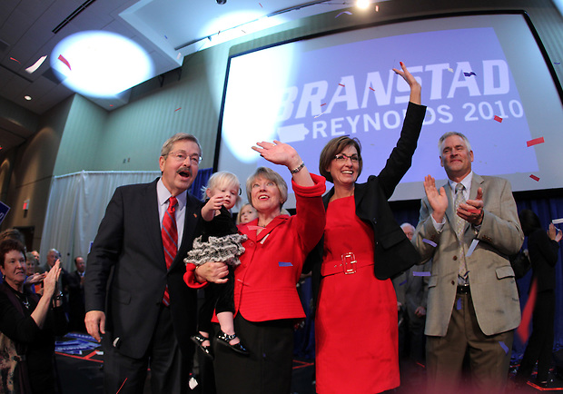 Governor-elect Terry Branstad, his wife, Chris, running mate Kim Reynolds and her husband, Kevin, celebrate victory. Republican Party election night rally at the Hy-Vee Conference Center in West Des Moines on Tuesday night, November 2, 2010.