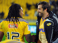 Ma'a Nonu and Conrad Smith celebrate winning the Super Rugby match between the Hurricanes and Chiefs at Westpac Stadium, Wellington, New Zealand on Saturday, 16 May 2015. Photo: Dave Lintott / lintottphoto.co.nz