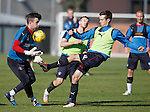 Ryan Hardie challenges keeper Liam Kelly before Andy Halliday has his say