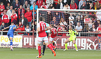 Oldham Athletic's Craig Davies scores the opening goal heading past Fleetwood Town's Ashley Eastham and goalkeeper Chris Neal<br /> <br /> Photographer Stephen White/CameraSport<br /> <br /> The EFL Sky Bet League One - Fleetwood Town v Oldham Athletic - Saturday 9th September 2017 - Highbury Stadium - Fleetwood<br /> <br /> World Copyright &copy; 2017 CameraSport. All rights reserved. 43 Linden Ave. Countesthorpe. Leicester. England. LE8 5PG - Tel: +44 (0) 116 277 4147 - admin@camerasport.com - www.camerasport.com