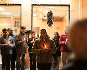 Furquan Sundal, center, Mr. Sandal's brother, spoke to the crowd. A candlelight vigil was held for Mohammed Arfan Sundal, the owner of the Kabab & Curry House at 2016 Guess Road, Durham. Mr. Sundal was fatally shot Dec. 6, leaving behind a wife, two daughters and two sons. The killer remains at large. December 13, 2012. Durham, North Carolina.
