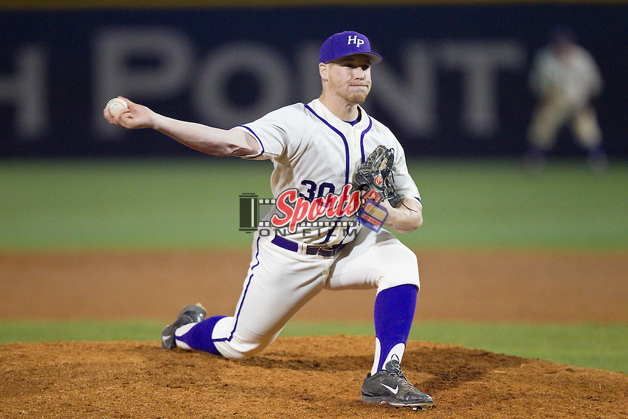 High Point Panthers relief pitcher John Maloney (30) in action against the Coastal Carolina Chanticleers at Willard Stadium on March 15, 2014 in High Point, North Carolina.  The Panthers defeated the Chanticleers 11-8 in game two of a double-header.  (Brian Westerholt/Sports On Film)