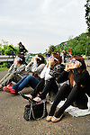 "May 21, 2012, Tokyo, Japan - People watch an annular solar eclipse in Kanagawa prefecture, Japan on May 21, 2012. An annular solar eclipse was observed over a wide area of Japan on Monday early morning. Millions of people watched as a rare ""ring of fire"" eclipse crossed the skies. (Photo by Masahiro Tsurugi/AFLO) -ty-"