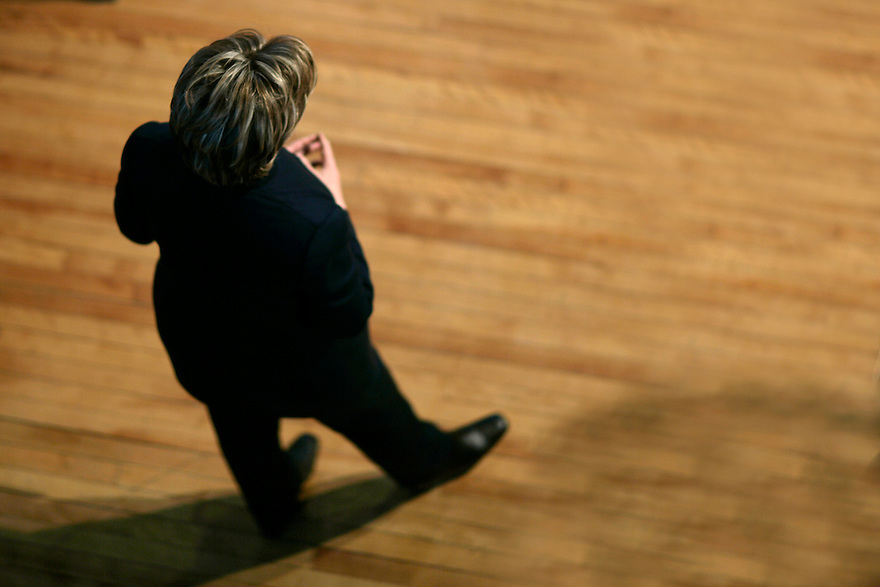 U.S. Senator and presidential hopeful Hillary Rodham Clinton (D-NY) (R) speaks to voters during a campaign stop in Berlin, NH February 10, 2007<br /> Photo by Brooks Kraft/Corbis