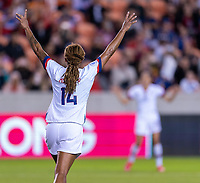 HOUSTON, TX - FEBRUARY 03: Jess McDonald #14 of the United States celebrates during a game between Costa Rica and USWNT at BBVA Stadium on February 03, 2020 in Houston, Texas.