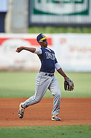 Third baseman Jeter Downs (5) of the Slam Academy in Miami, Florida playing for the Tampa Bay Rays scout team during the East Coast Pro Showcase on August 3, 2016 at George M. Steinbrenner Field in Tampa, Florida.  (Mike Janes/Four Seam Images)
