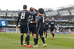 Real Madrid's Alvaro Morata, Marco Asensio, Marcelo Vieira, Raphael Varane and Garet Bale celebrate goal during La Liga match. August 21,2016. (ALTERPHOTOS/Acero)