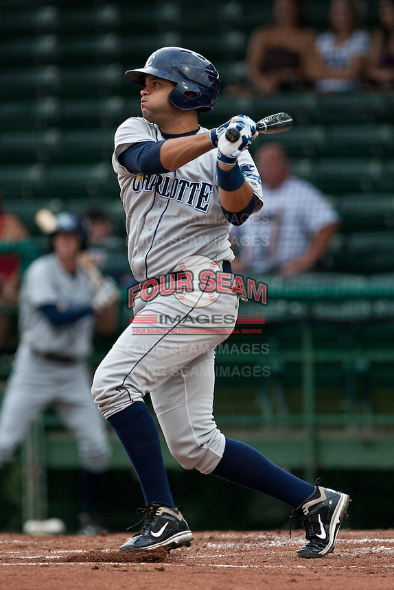 Mayobanex Acosta #19 of the Charlotte Stone Crabs during a game against the Daytona Beach Cubs at Jackie Robinson Ballpark on July 8, 2011 in Daytona Beach, Florida. (Scott Jontes / Four Seam Images)