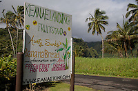 Ke'anae Landing Fruit Stand sign along the road to Hana, Maui.