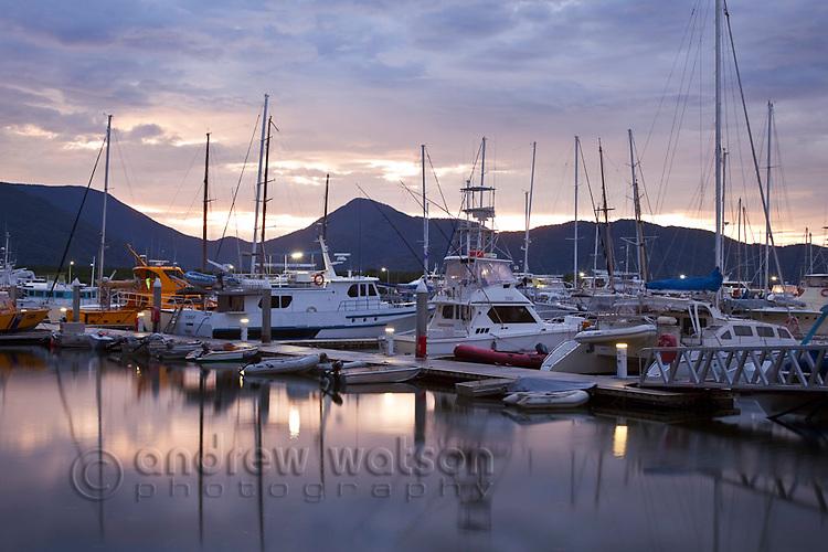 Marlin Marina at twilight.  Cairns, Queensland, Australia