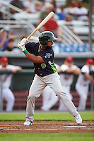 Vermont Lake Monsters second baseman Jesus Lopez (9) at bat during a game against the Auburn Doubledays on July 12, 2016 at Falcon Park in Auburn, New York.  Auburn defeated Vermont 3-1.  (Mike Janes/Four Seam Images)