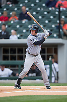 Slade Heathcott (12) of the Scranton\Wilkes-Barre RailRiders at bat against the Charlotte Knights at BB&T BallPark on May 1, 2015 in Charlotte, North Carolina.  The RailRiders defeated the Knights 5-4.  (Brian Westerholt/Four Seam Images)