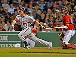 8 June 2012: Washington Nationals outfielder Tyler Moore in action against the Boston Red Sox at Fenway Park in Boston, MA. The Nationals defeated the Red Sox 7-4 in the opening game of their 3-game series. Mandatory Credit: Ed Wolfstein Photo