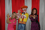 Dean the Clown poses with One Life To Live's Kristen Alderson and Melissa Archer were guest hosts and signed autographs at The Coney Island Illuscination presented by Ringling Bros. and Barnum & Bailey - The Greatest Show on Earth on August 28, 2010 at Coney Island Boardwalk, New York. (Photo by Sue Coflin/Max Photos)