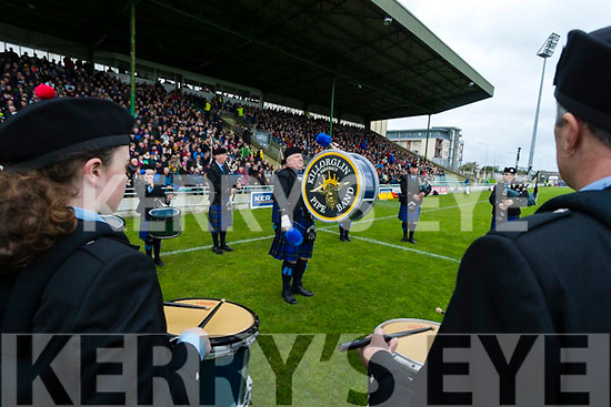 Killorglinn Pipe Band play before the Senior County Football Final in Austin Stack Park on Sunday
