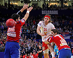 Mikkel Hansen (C) of Denmark scores during men`s EHF EURO 2012 handball championship final game between Serbia and Denmark in Belgrade, Serbia, Sunday, January 29, 2011.  (photo: Pedja Milosavljevic / thepedja@gmail.com / +381641260959)