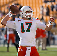 Miami Hurricanes quarterback Cade Weldon. The Pitt Panthers upset the undefeated Miami Hurricanes 24-14 on November 24, 2017 at Heinz Field, Pittsburgh, Pennsylvania.
