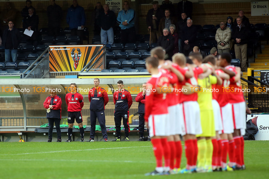 Wycombe manager, Gareth Ainsworth observes a one minute silence for Remembrance Day - Wycombe Wanderers vs Crewe Alexandra - FA Cup 1st Round Football at Adams Park, High Wycombe, Buckinghamshire - 09/11/13 - MANDATORY CREDIT: Paul Dennis/TGSPHOTO - Self billing applies where appropriate - 0845 094 6026 - contact@tgsphoto.co.uk - NO UNPAID USE