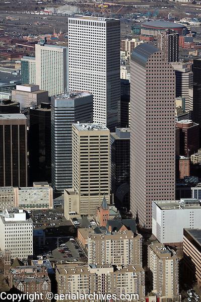 aerial photograph Republic Plaza at center and Wells Fargo Center right in the Denver, Colorado CO