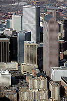 aerial photograph Republic Plaza at center and Wells Fargo Center right in the Denver, Colorado CO