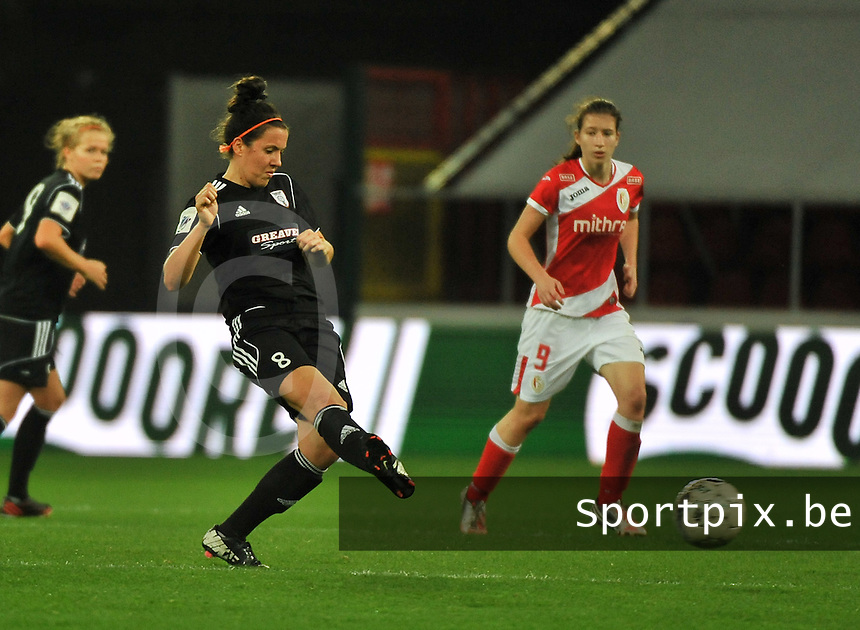 20131009 - LIEGE , BELGIUM : Glasgow Leanne Crichton (8) pictured during the female soccer match between STANDARD Femina de Liege and  GLASGOW City LFC , in the 1/16 final ( round of 32 ) first leg in the UEFA Women's Champions League 2013 in stade maurice dufrasne - Sclessin in Liege. Wednesday 9 October 2013. PHOTO DAVID CATRY