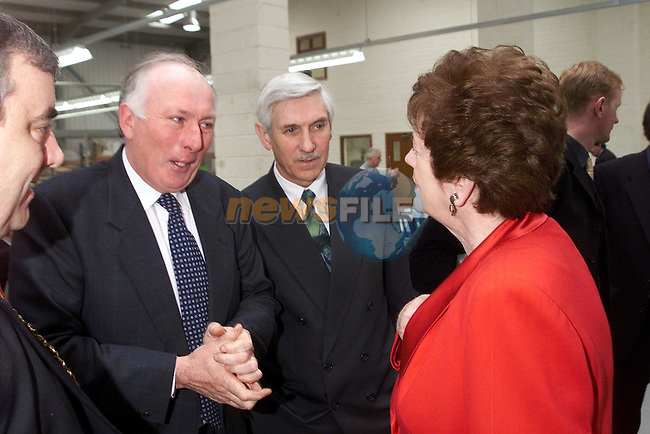 Pat Fallon speaking with Mary O'Rourke during her visit to IDT in the Newgrange Business Park on Monday..Picture Paul Mohan Newsfile